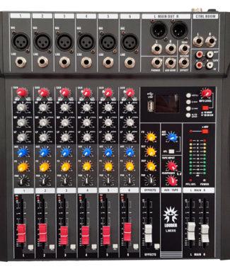 LMIX6 Mezcladora pasiva 6 entradas USB/BT/FX