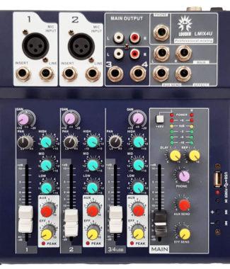 LMIX4U Mezcladora pasiva 4 entradas USB/FX/MP3