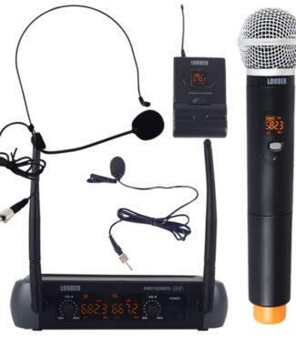 KM210DMDS Set Micrófonos Inalámbricos Diadema Mano Solapa Uhf